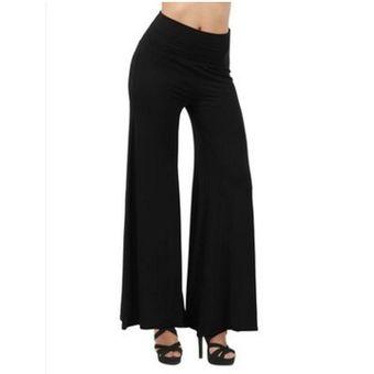 Las Mujeres Casuales Pantalones Flojos Pantalones Pata Ancha Cintura Alta Pantalones Femeninos Pantalones Solidos M Linio Chile Ge018sp1de4y4lacl
