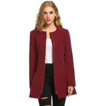 3926659b230ed Compra Chaqueta Con Bolsillos Casual Para Mujer-Rojo De Vino online ...