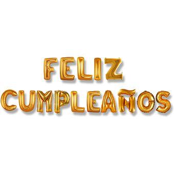 Globo En Forma De Letras Feliz Cumpleaños Dorado O Plateado