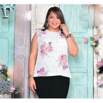 Compra Blusa Sublimada Con Crochet Outfit 433 Para Mujer Blanco ... ec21ca58af0