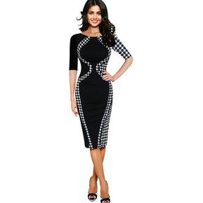 c266c058e Vestido Lápiz Manga Corta Costura De Estiramiento Delgados -Negro