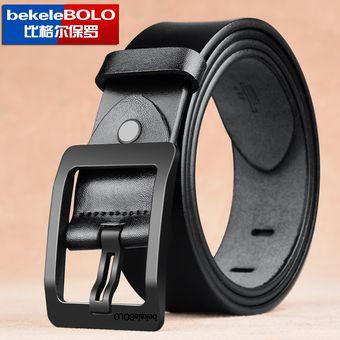 644646d84400f Cinturón de cuero para hombres Cinturón de hebilla con pasador - Negro 110CM