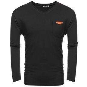 Camiseta Con cuello en v botón para hombre-Negro b398d0cee8b12