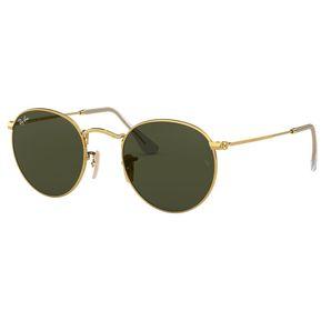 bcd76563e1 Lentes de Sol Round Flat Gold Green Ray-Ban