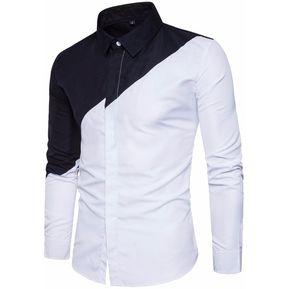 Costura De Color Camisas Casual Solapa Manga Larga Vestido Camisas Hombres ed406a0ddb5d9
