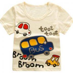 cdc59620efca9 Verano Niños Camisetas Dibujos Animados - Coche Amarillo