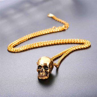 f98bced71a83 Agotado Collar Colgante De Calavera Con Cadena Trigo Chapado En Oro De 18K  Para Hombre Original De