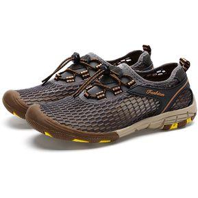 ce461b966df Zapatos De Senderismo Al Aire Libre Malla Antideslizante Para Hombre - Gris