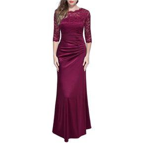 fe50571a2 Vestidos Mujer Largo Elegante Vestido De Encaje Vestidos De Fiesta-Rojo