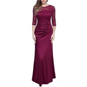 Vestidos Mujer Largo Elegante Vestido De Encaje Vestidos De Fiesta Rojo