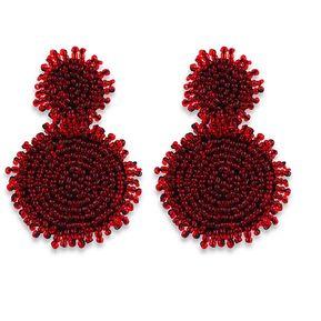 801e8a8e6750 Pendientes redondos con cuentas bohemias-Rojo