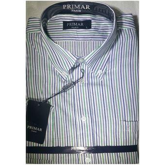 e1ebefbbb5 Agotado Camisa Manga Larga Rayas Para Hombre Primar Italy - Blanco Azul  Verde