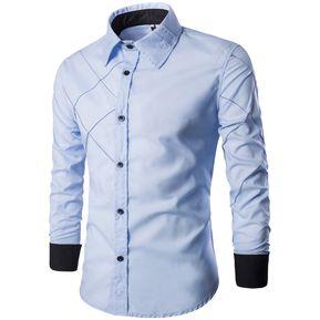 Adelgazante Comprobado Patrón Largo Manga Camisa para Hombres (Azul) 35407730561