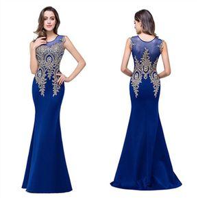 32e82e0b5 Vestido de Noche fashion-cool sin mangas de encaje- Azul