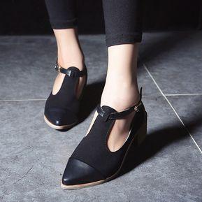 7581522133e Zapatos Oxford De Tacón Med Medianos De La Vendimia De Las Mujeres -negro