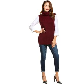 Suéter Chaleco Turtleneck Casual Para Mujer - Rojo De Vino 1eb41ab048be