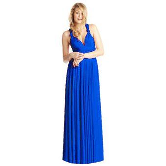 Vestido De Noche Modela Bella Convertible Multiformas Largo Azul Rey