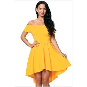Vestido Elegante Para Fiestas Generico Para Mujer Amarillo