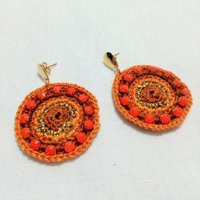 234e2e21fd7f Aretes Zarcillos Tejidos a Crochet Strass Brillante Elegantes Moda