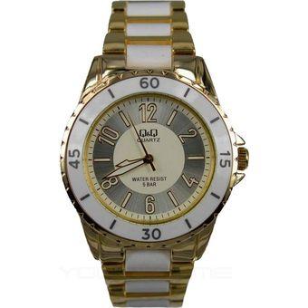 8b9e2a718adf Reloj Para Dama Marca Q Q Modelo F461-004y Análogo Resistente Al Agua  Elegante Color Combinado