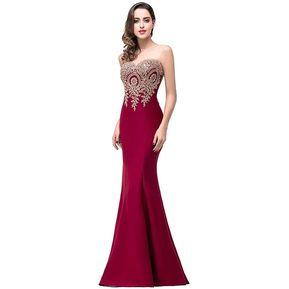 c3e32598f Vestido de noche de encaje sexy sirena sin respaldo rojo