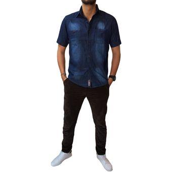 d901a0c5a8 Compra Camisa En Jean Manga Corta OutFit Para Hombre Azul online ...