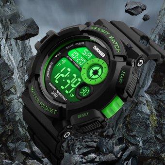 32f11df4989c LED Reloj Hombre 7 Colores Skmei Reloj Deportivo Estudiante Contra Agua  (Verde)