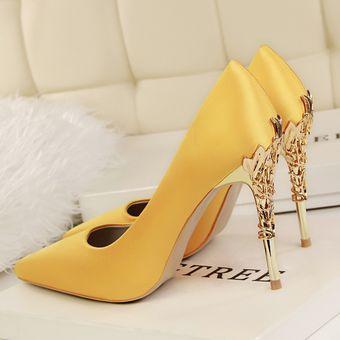 Zapatos De Color Taco Tacon Mujer Alto Elegante Estilo Amarillo 0wnPO8k