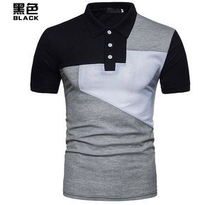 03200d0a247c4 Camisa Hombre Polo Masculina De Casual Tops Hombre Manga Corta Y De-Negro