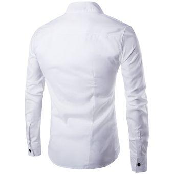 Manga Larga Botón Oblicuo Personalizado Irregular Casual Camisa Hombres ce82e68c2455e