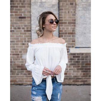 4bf9bff23a Cuello De Verano Mujer Camisa Irregular Top De Blusa De Encaje Casual Full  Flare Sleeve -