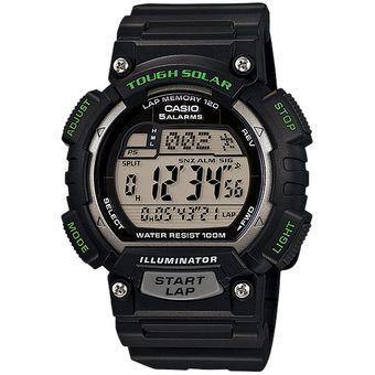 Reloj Casio STLS100 Caucho Negro con Verde 120 Memorias