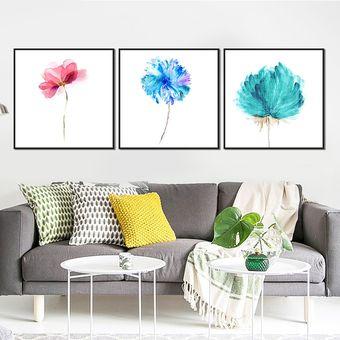 Cuadro Decorativo Flores Multicolor 3 Piezas Sin Marco