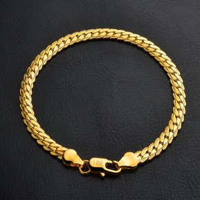c6dca30bedeb Caliente Pulsera De Oro Amarillo De 18K Joyas De Moda Simple (oro)