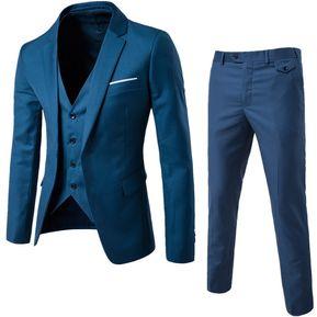 Traje De Tres Piezas Para Los Hombres Noivo O Padrino - Azul Marino dc1a712cf44