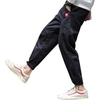 Pantalones Informales Con Cintas Para Hombre Pantalones Holgados Con Cordon Pantalones A La Moda Informales Hasta El Tobillo Pantalones Solidos De Algodon Pantalones Cenidos Fernao Black Linio Peru Un055fa0bntadlpe