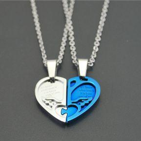 6b3bdc752e43 Agotado Alas De Angel Colgantes Finos Ti Collar Parejas Amantes Moda Joyería-G  Azul