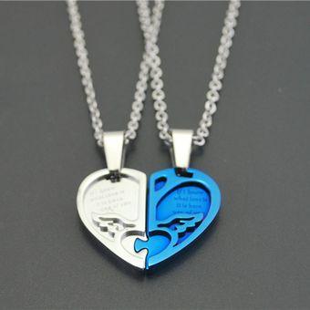 a8267e00b583 Agotado Alas De Angel Colgantes Finos Ti Collar Parejas Amantes Moda  Joyería-G Azul