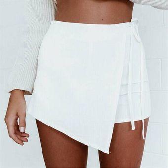 Pantalones Cortos  Falda Pantalón Falso Dos Piezas Shorts Irregulares Para  Mujer – Blanco b05fdea942bc