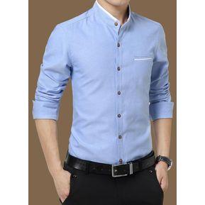 fa8f2179fe Camisas Hombre De Manga Larga De Negocios De Cuello De Pie De No Plancha  -azul