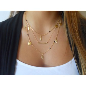 d3f7ba3fef26 Compra Collar Harmonie Accesorios Tres Cadenas Dijes Hojas Dorado ...