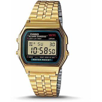 b1ab39e20da2 Compra Reloj Casio Retro A159WGEA-1D Color Dorado Fondo Negro online ...