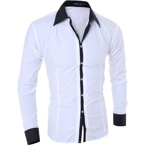 Hombres Manga larga Contraste Recortar Camisa (Blanco) 8dd201fc28b78