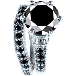 a197b5983007 Anillo de Compromiso Diamante Negro 5.39 Ct Sic2 Oro Blanco