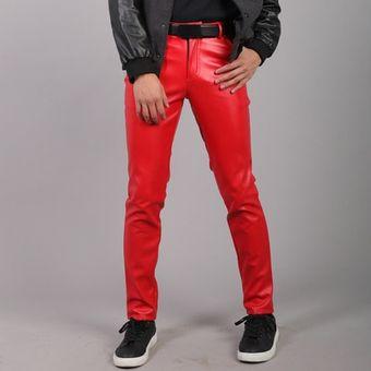 Pantalones De Piel Sintetica Para Hombre Pantalones De Imitacion Ajustados Elasticos A La Moda Informales De