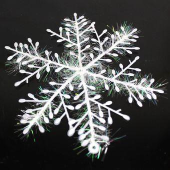 Decoración De Navidad Palo De Copo De Nieve Blanco 3 Piezas