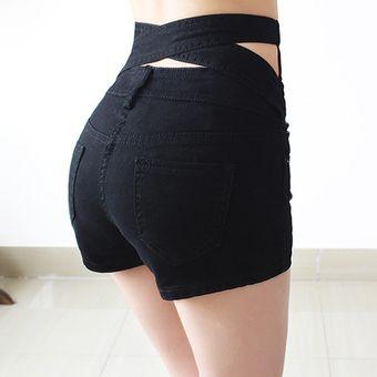0ff9ad5531 Cintura Alta Pantalones Cortos Shorts Vaquero Talle Alto Shorts De  Mezclilla Para Mujer -Negro