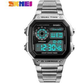 80491f9a0cdd SKMEI Reloj Casual Para Hombre Reloj Digital A Prueba De Agua Plateado