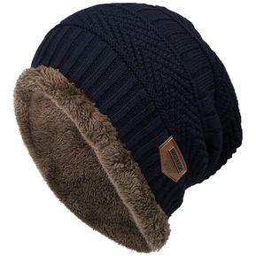 236f5525e95f1 Gorro Moda Grueso Suave Tejida Caliente Del Invierno Para Mujer Hombre  Unisex -Azul Marino