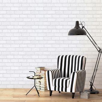 2a035b3219c55 Compra Papel Tapiz Ladrillo 3D Blanco Adhesivo Decora Pared online ...